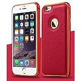 【 iphone6s / 6s plus対応 】4 色 iphone 6 / 6 plus レザー アルミバンパー ケース スマホ アイフォン カバー クロコダイル (レッド, iphone6(iphone6s))