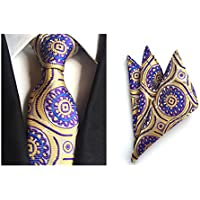 MENDENG Men's Paisley Silk Ties Wedding Suit Tie Hanky Sets