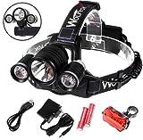 5000ルーメン LEDヘッドライト Wolfyok(TM) 3x CREE XM-L T6 4モード点灯 超輝度 自転車テールライト ライトホルダー付き 防水 角度調整可 夜釣り 夜の作業 アウトドア