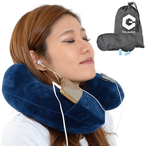 ネックピロー [高速 2秒で膨らむ] 旅行用便利グッズ 飛行機 バス 枕 トラベルグッズ (収納袋 アイマスク 耳栓 セット) GUAPO(グアポ)