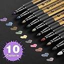 SAYEEC カラーペン ペイントマーカー 10色 セット アートマーカー マーカーペン 水性 油性 塗り絵 お絵描き 絵の具 DIY 黒台紙
