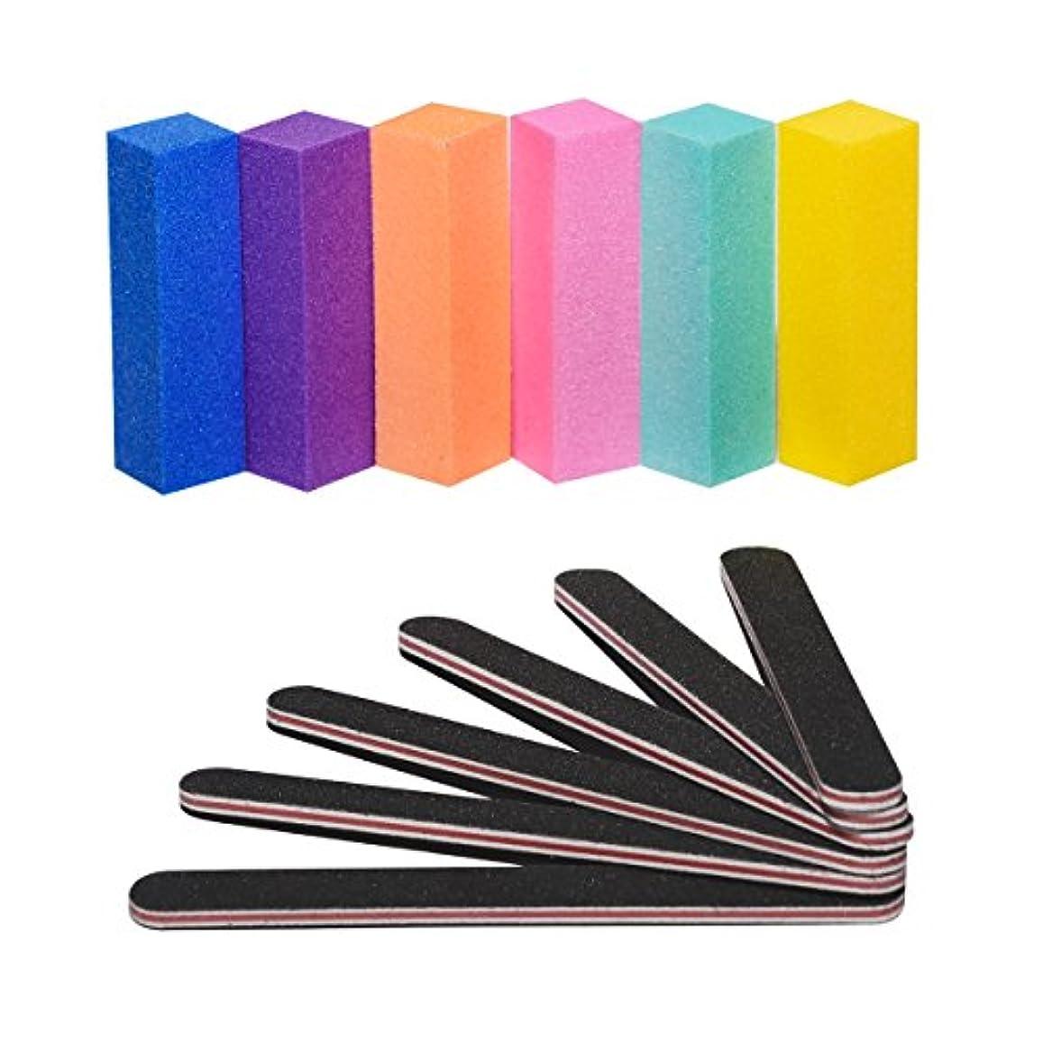 ジェルネイルバッファー ネイルファイル ネイルオフ 爪やすり 爪磨き 両面100/180バッファー 12本ブロックバッファー ブロックバッファー ネイルシャイナー