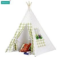 Pericross キッズテント 子供 ティピー ハウス 簡易テント 木と布 北欧 屋内外で使用可能 携帯便利 秘密基地 インディアン クリスマス お誕生日プレゼント 出産祝い 進学祝い グリーン-ホワイト