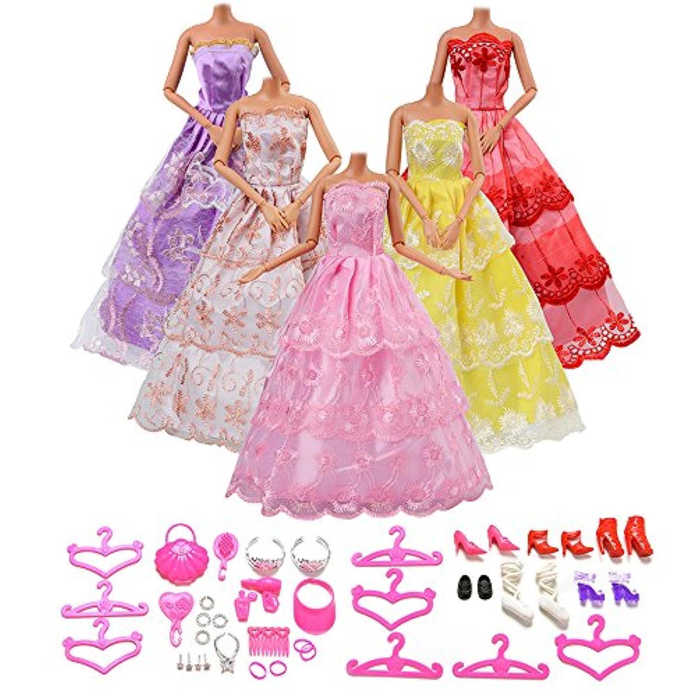 Asiv 5枚 手作り プリンセスドレス 結婚式ドレス バービー人形 アクセサリー 靴 バッグ ミラー ハンガー 帽子 くし ブレスレット ピアス ランダム スタイル おもちゃ子供用