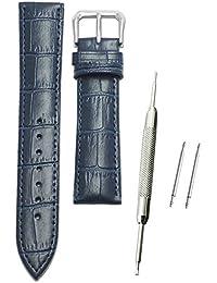 11Straps 【幅20mm】本革製 時計ベルト 時計バンド バネ棒 バネ棒外し付き 交換セット (ネイビー(クロコダイル型押し))