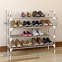 4段靴ラック、シンプルなステンレススチールキャビネット家具オーガナイザー棚16組
