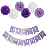 Purple Happy Birthday Bunting Banner,25cm Tissue Paper Pom Poms Flowers,Perfect Party Decoration Supplies for Birthday