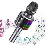 【2019年最新版】Verkstar Bluetooth カラオケマイク ブルートゥース ワイヤレスマイク 高音質カラオケ機器 音楽再生 ノイズキャンセリング LEDライト付き 家庭スマホカラオケ 大容量2600mAh TFカード機能 録音可能 Android/iPhone/PCに対応 忘年会/新年会/ホームパーティーに適用 (グレー)