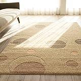 洗える 抗菌 ラグ カーペット かわいい 水玉 模様 ( 190X190 cm ベージュ ) 約 2畳 日本製 ホットカーペット 床暖房対応