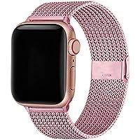 WFEAGL コンパチブル apple watch バンド, コンパチブルiWatch通用ベルト apple watch 6/5/4/3/2/1, SEに対応 交換ベルトステンレス製 (42mm 44mm, ローズレッド)