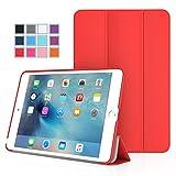 iPad Mini 4 ケース - ATiC Apple iPad Mini 4 (2015) 7.9 インチ iOS タブレット専用開閉式三つ折薄型スタンドケース RED (オートスリープ機能付き) (iPad Mini 3/2/1に適応ない)
