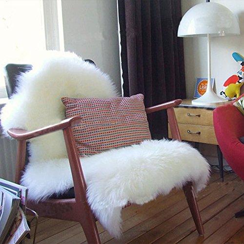 RoomClip商品情報 - フェイクシープスキンラグ 毛足極長 ふかふか ムートンフリース ジャンボサイズ リビング/ベッドルーム 羊毛ラグマット シートマット ホワイト 羊の形 75cm×120cm
