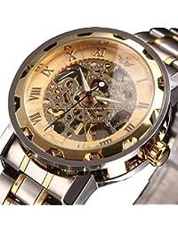 時計、機械式時計 メンズウォッチクラシックスタイルのメカニカルウォッチスケルトンステンレススチールタイムレスデザインメカニカルスチームパンク (シルバー ゴールド)