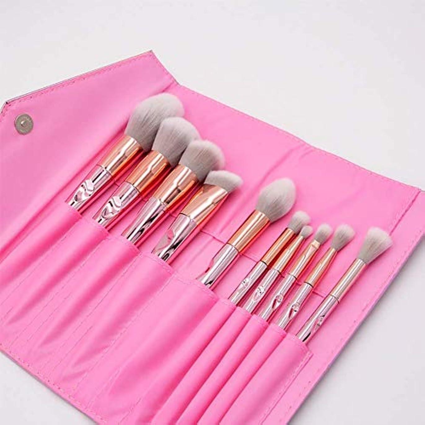 ヘリコプターうんドアミラー化粧ブラシ、プロの合成ビーガンメイクアップブラシファンデーションブラッシュアイライナーアイシャドウ化粧ブラシセット化粧品袋付き(10個、ピンク)