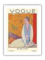 ヴォーグマガジン - 1925年10月 - パリのファッション - ヴィンテージマガジンカバー によって作成された ジョルジュ・ルパプ c.1925 - プレミアム290gsmジークレーアートプリント - 30.5cm x 41cm