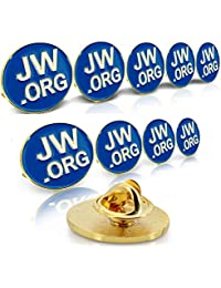 "Jehovah Witness - 3/4"" Round Blue Lapel Pin - JW.org Neck Tie Hat Tack Clip Women or Men Suits-Gold Round -10 Pcs"