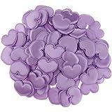 Fenteer 約100枚 紙吹雪 花びら ハート サテン 4色選べる - 紫