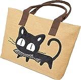 お魚くわえたどら猫 バッグ 可愛い カジュアル トート 帆布 製 3 色 (ベージュ)