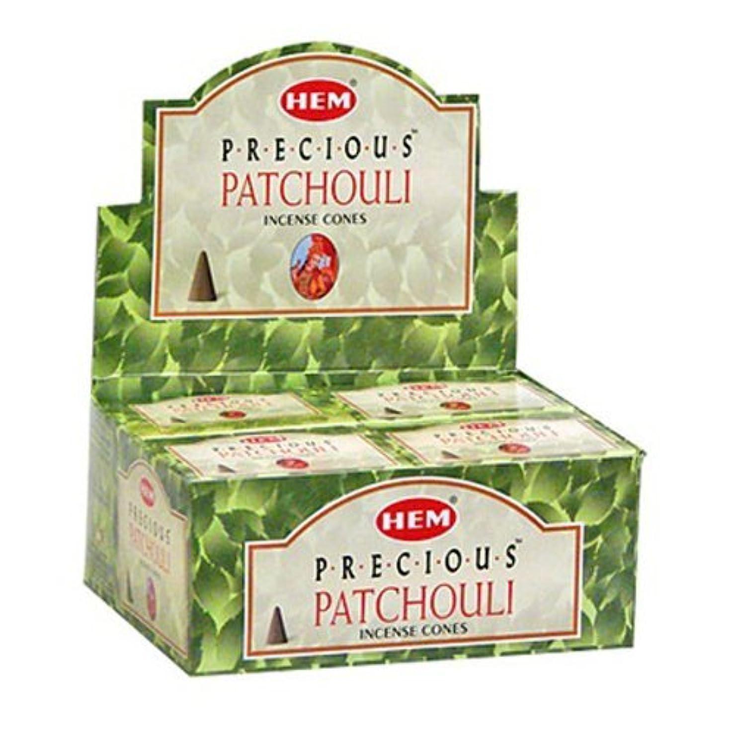 こっそりいろいろキウイHem Preciousパチュリコーンお香 – 4パック、10 Cones 1パック