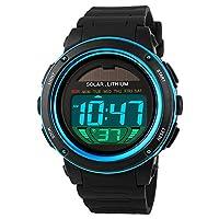 Smalody ソーラーウォッチメンズ時計スポーツLED防水50メートルバックライトストップウォッチアウトドアデジタル腕時計