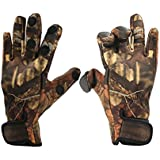 Inf-way Fishing Gloves, Camouflage 3 Cut Fingers Convertible Gloves - Waterproof/Windproof/Skidproof/Breathable/Warm/Touchscreen Fishing Hunting Hiking Riding Cycling
