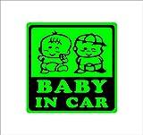ノーブランド 緑 BABY IN CAR 赤ちゃん2人 双子 ツインズ シール ステッカー