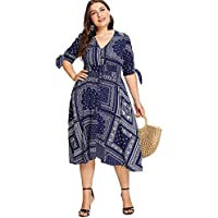 Milumia Plus Size Summer Bohemian Floral Printed Casual Short Sleeves Knoted Empire Waist Midi Dress