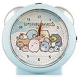 すみっコぐらし 目覚まし時計 アナログ ぺんぎん ライト付き ブルー