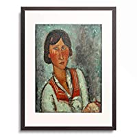 アメデオ・モディリアーニ Amedeo Clemente Modigliani 「Half-length portrait of a young woman wearing a sailor collar」 額装アート作品