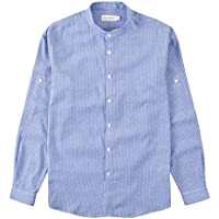 BYLUNTA Men Regular Fit Band Collar 100% Cotton Pinstripe Long Sleeve Daily Office Casual Business Shirt (X-LargeSky Blue)