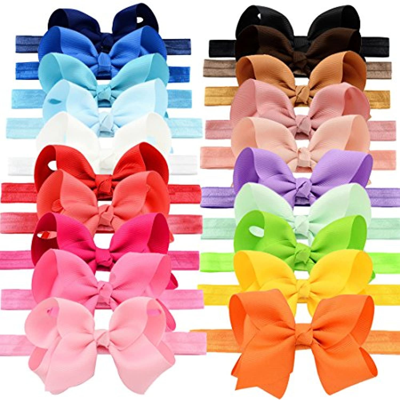 YOYファッションベビー女の子ブティックヘアアクセサリー伸縮性ヘッドバンド伸縮性バンドセットwithグログランリボンリボンHead Wear for Toddlers Teens Kids 20個パック