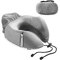 HomySnug ネックピロー U型枕 低反発ウレタン SGS認証済み 一体型 収納簡単 ネック枕 折り畳み式 収納ポーチ付 オフィス 飛行機 新幹線 出張 旅行用