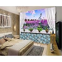 Wuyyii ロールの壁の壁紙窓枠ラベンダーの花の海3D壁画キッズルームの壁紙の背景の壁家のインテリア-400X280Cm