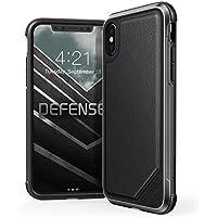 X-Doria iPhone XS/X (2018 & 2017) ケース DEFENSE LUX シリーズ 米軍MIL規格取得 MIL-STD-810G 衝撃吸収 スリム ハイブリッド アルミニウム × TPU × ポリカーボネイト ケース 【 ブラック・レザー 】