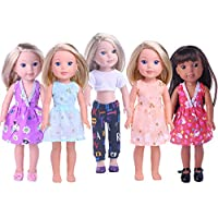 LuckDoll 5pcs Doll Clothes Set for 36cm 37cm American Girl Doll Wellie Wishers Doll