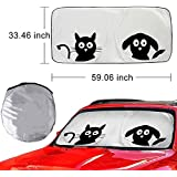 Car Accessories Windshield Sun Shade AYAMAYA-AU Auto Sunshade Front Window Visor UV Ray Reflector Foldable Cartoon Shield Cover Protect Your Kids and Pets from Sun Glare Universal Fit Car Truck SUV Van
