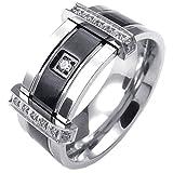 KONOV ジュエリー ファッション アクセサリー メンズ リング 指輪, 婚約 結婚, ジルコニア ダイヤ, ステンレス, カラー:ブラック; シルバー(銀);[ギフトバッグを提供] - [24号]