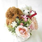 誕生日プレゼント 女性 花 プリザーブドフラワーのバラと アートフシャルフラワー(造花)の ペア パピー トイプードル(高さ約7cm) の フラワーアレンジメント ホコリも安心のクリアケース入り サンモクスイ(商標登録第5497927号)の手作り