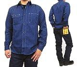 シュガーケーン SUGAR CANE 長袖シャツ FICTION ROMANCE 8.5oz. ウォバッシュストライプ ワークシャツ SC25551A (M, 421(ワンウォッシュネイビー))