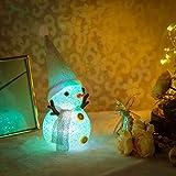 雪だるま LEDライト イルミネーション 7色 スノーマン クリスマス 装飾 飾り オーナメント デコレーション 電池式 電飾 クリスタルモチーフ ランプ シルバー