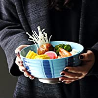 ラージスープラーメンラーメンクリエイティブフルーツサラダミキシングサービングボウルマイクロウェーブセーフホームセラミック食器6.5インチ (Color : Pattern blue)