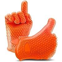 Fullthings 5指クッキンググローブ 男女兼用左右対称耐熱温度220℃耐熱BBQグローブ手袋バーベキュー手袋同梱1ペア手袋 (オレンジ)