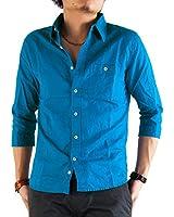 (アーケード) ARCADE 24color 綿麻素材 7分袖シャツ XL ターコイズ
