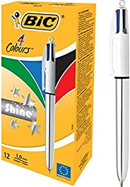 BIC 4 Colours Shine Retractable Ball Pen Medium Point (1.0 mm) - Silver Body, Box of 12 Pens, Pack of 12, Asso