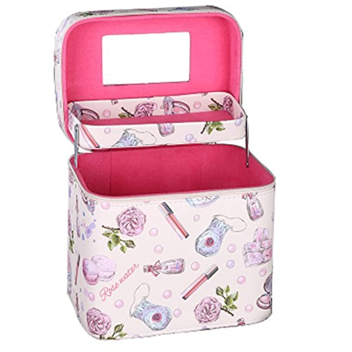 メイクボックス プロ 人気 コスメボックス 鏡付き 大容量 かわいい 化粧ボックス 持ち運び (ピンク2層)