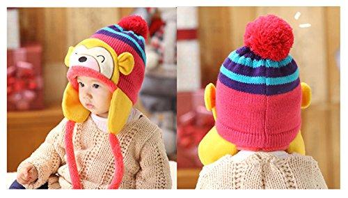 【Petit Cadeau】 お猿さん ニット帽 かわいい 暖か帽子 子ども用 防寒グッズ ピンク色 年賀状 の 家族写真 や プレゼントにも♪ 《ピンク》