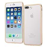 レイ・アウト iPhone8 Plus / iPhone7 Plus ケース アルミバンパー+背面パネル(クリア) ゴールド RT-P15AB/CGM