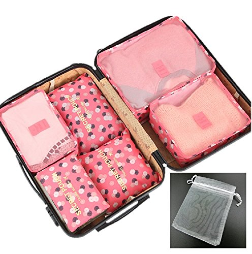 トラベルポーチ 旅行用 収納 7点セット 衣類や小物をまとめて収納 かわいい柄多数あり (ピンク花)