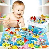 知育玩具 魚釣り さかなつり パズル 磁石 くっつく 釣り 釣り竿 おもちゃ 玩具 木製 竿 英語 中国語 マグネット 収納ケース 親子 こども 教育 パズル付 魚釣りセット 教育 学習 リール