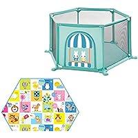 ベビーサークル 赤ちゃんの遊び場子供の遊び場の家庭6パネルのゲームのフェンス六角クッション付き屋内幼児の遊び場